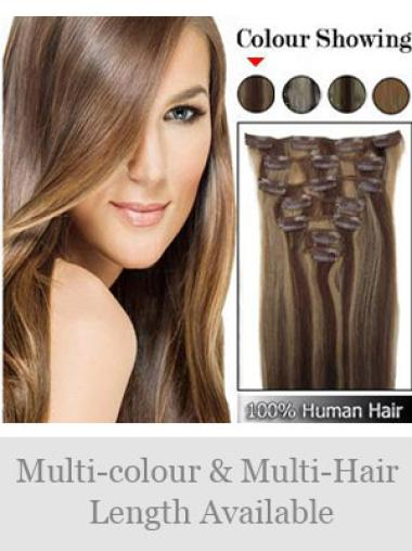 Convenient Brown Straight Clip in Hair Extensions