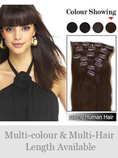 Discount Brown Straight Clip in Hair Extensions