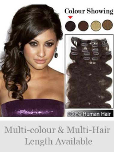 Fashionable Brown Wavy Clip in Hair Extensions