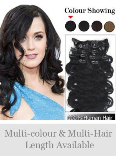 Fishnet Black Wavy Clip on Hair Extensions