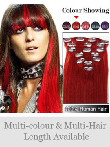 Gorgeous Red Straight Clip on Hair Extensions