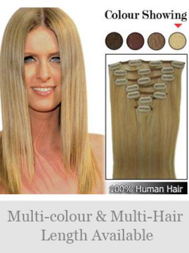 Graceful Blonde Straight Clip on Hair Extensions