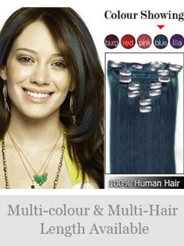 Great Black Straight Clip on Hair Extensions