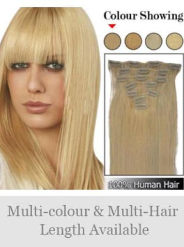 High Quality Blonde Straight Clip on Hair Extensions