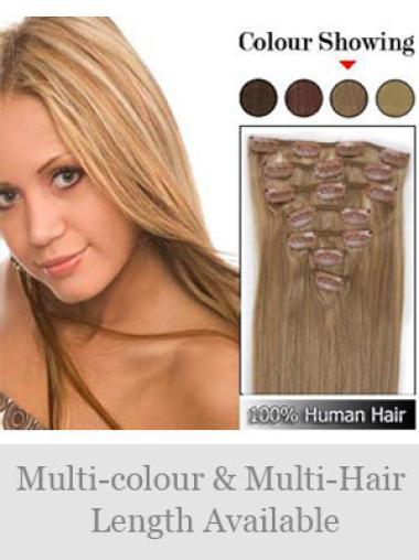 Modern Blonde Straight Clip on Hair Extensions