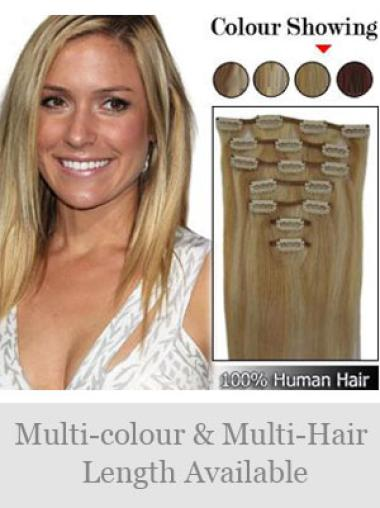 New Blonde Straight Clip on Hair Extensions