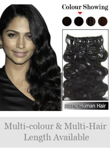 Natural Black Wavy Clip on Hair Extensions
