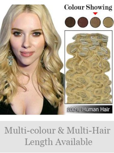 Perfect Blonde Wavy Clip on Hair Extensions