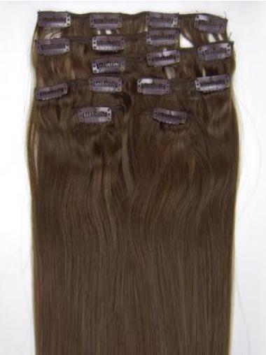 Quality Brown Straight Clip on Hair Extensions