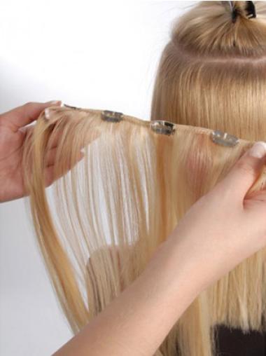 Sleek Blonde Straight Clip on Hair Extensions