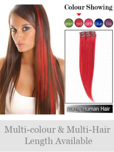Soft Red Straight Clip on Hair Extensions