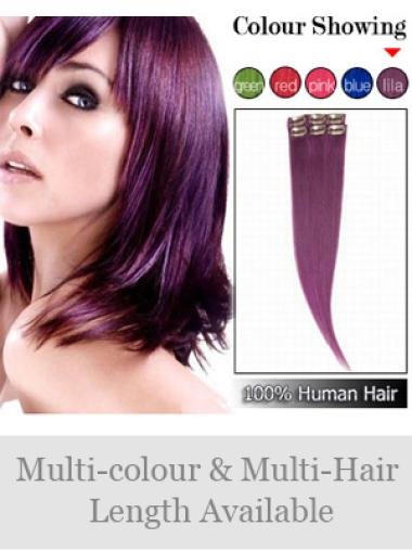 Stylish Black Straight Clip on Hair Extensions