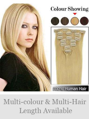 Fashion Blonde Straight Clip in Hair Extensions