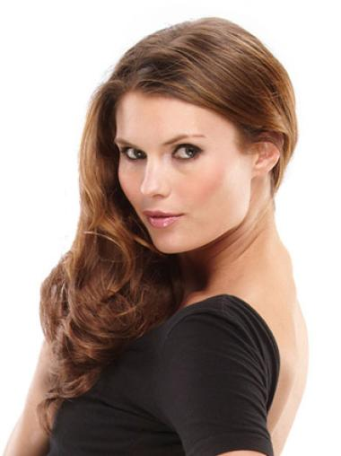 Convenient Brown Wavy Synthetic Clip on Hair Extensions