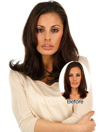 Durable Brown Straight Clip on Hair Extensions