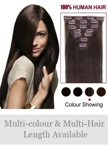 Fashion Brown Straight Clip on Hair Extensions