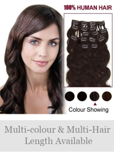 Fishnet Brown Wavy Clip on Hair Extensions