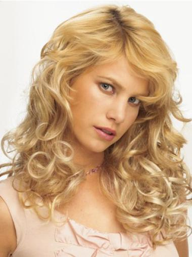 Gorgeous Blonde Curly Synthetic Clip on Hair Extensions