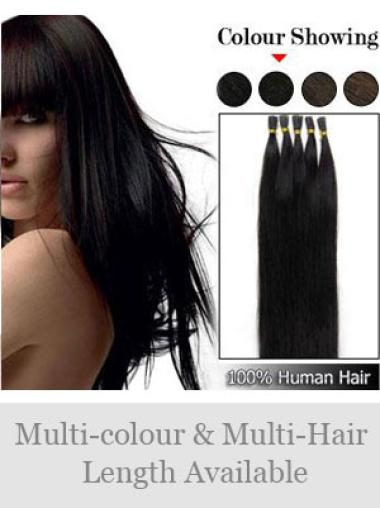 Designed Black Straight Stick Tip Hair Extensions