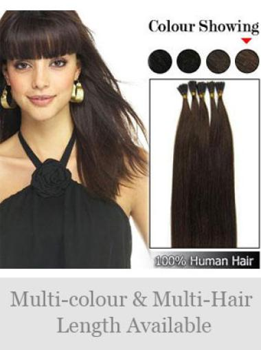Durable Black Straight Stick Tip Hair Extensions