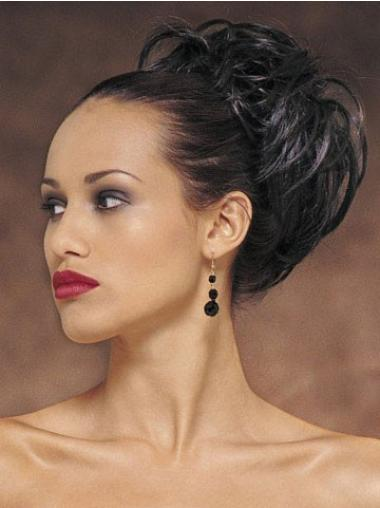 Stylish Short Black Wavy Clip in Hairpieces