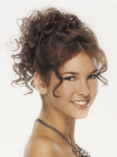 Top Brown Curly Clip in Hairpieces