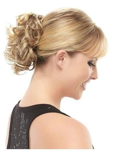 Affordable Short Blonde Curly Clip in Hairpieces