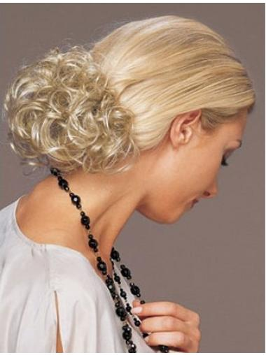 Amazing Short Blonde Curly Clip in Hairpieces