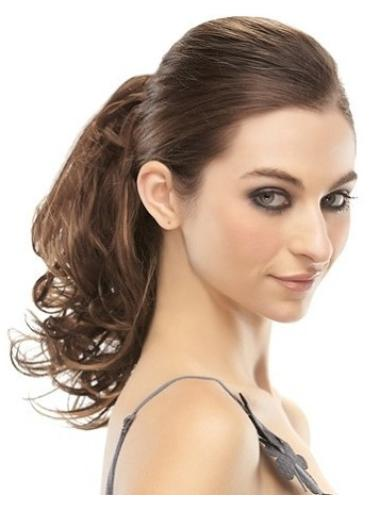 Cheap Brown Curly Clip in Hairpieces