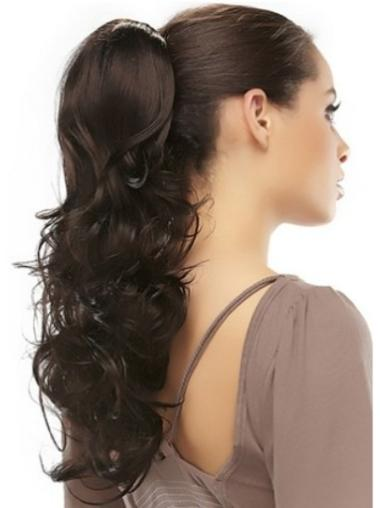 Comfortable Long Brown Wavy Clip in Hairpieces