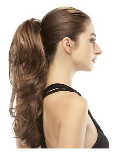 Designed Long Brown Wavy Clip in Hairpieces