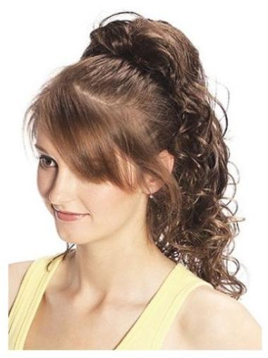 Discount Long Brown Curly Clip in Hairpieces