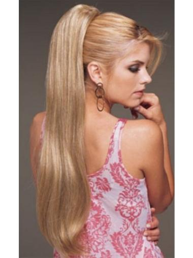 Fashionable Long Blonde Straight Clip in Hairpieces