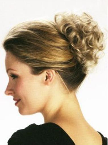 Graceful Short Blonde Curly Clip in Hairpieces