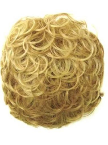 Modern Short Blonde Curly Clip in Hairpieces