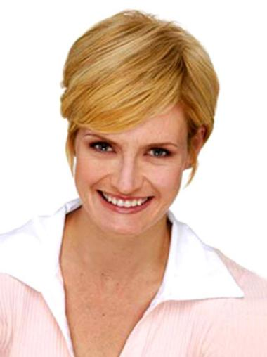 Amazing Short Blonde Straight Clip in Hairpieces