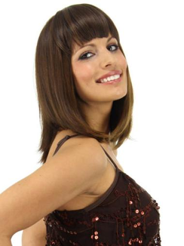 Cheap Short Brown Straight Clip in Hairpieces
