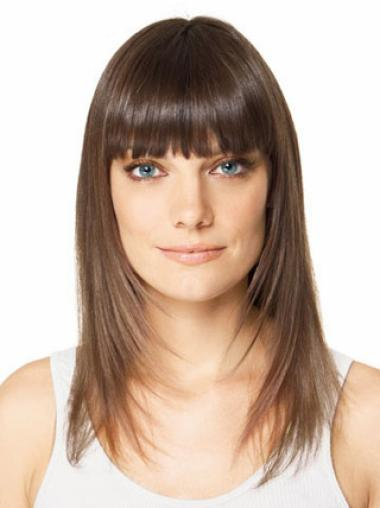 Comfortable Long Brown Straight Clip in Hairpieces