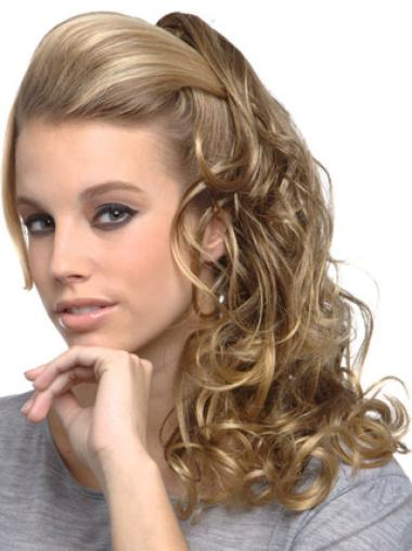 Convenient Long Blonde Curly Clip in Hairpieces