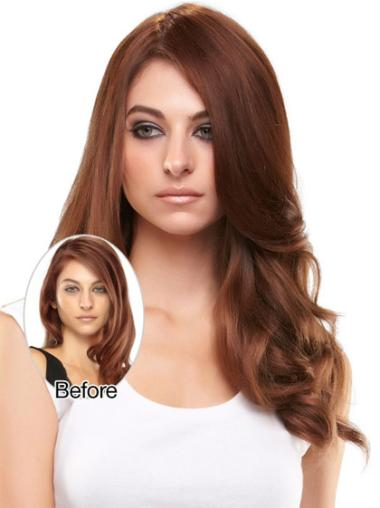 Designed Long Auburn Wavy Clip in Hairpieces