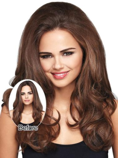 Discount Long Brown Wavy Clip in Hairpieces