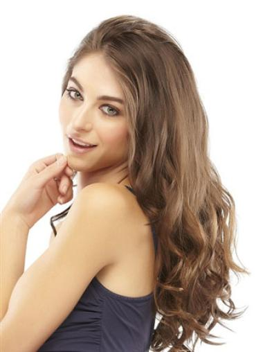 Flexibility Long Brown Wavy Clip in Hairpieces