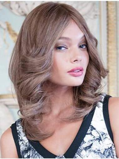 100% Hand-tied Brown Remy Human Hair Layered Curly Medium Length Wigs