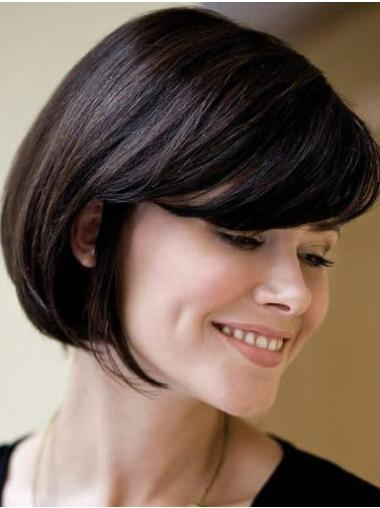 Straight Black Bobs Remy Human Hair Hand Knotted Wigs
