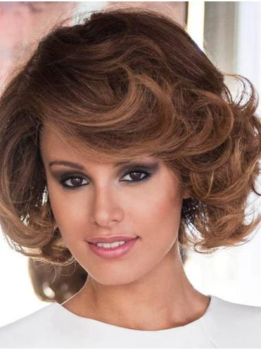 Curly Brown Layered Remy Human Hair Hand Tied Hair