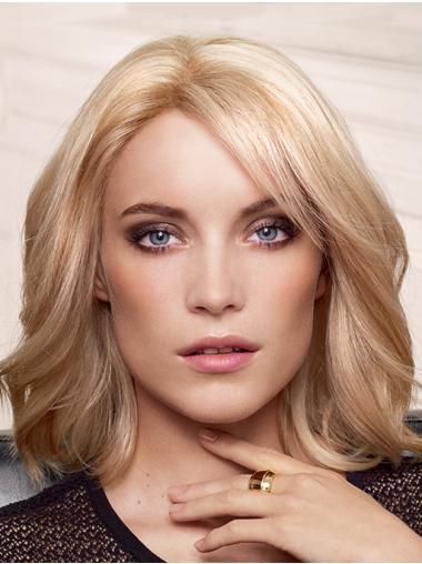 Capless Blonde Remy Human Hair Layered Wavy Medium Length Wigs For Women