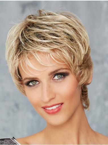 Wavy Blonde 8 Inches Boycuts Mono Wigs