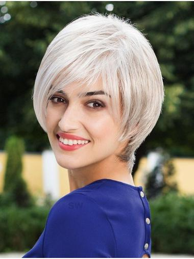 Grey Monofilament 10 Inches Synthetic Bob Style Wigs