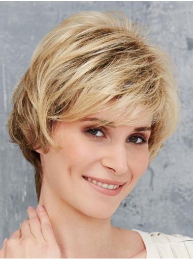 Blonde Synthetic Boycuts Straight Short Front Lace Wig
