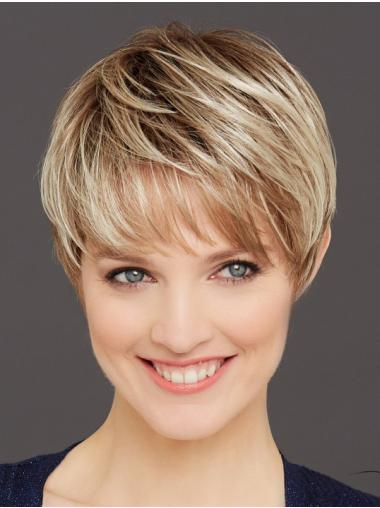Straight Blonde 6 Inches Boycuts Monofilament Wigs For Women